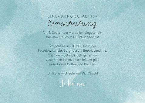 Einladung zur Einschulung ABC blau mit Foto 3