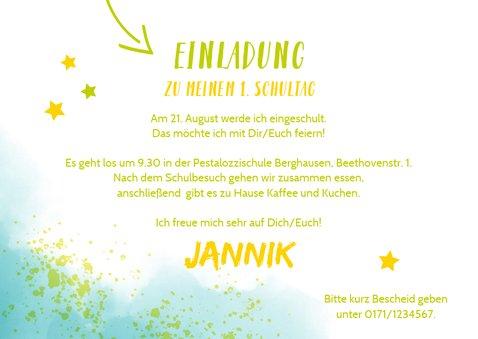 Einladung zur Einschulung Foto & blaugrüne Kleckse 3