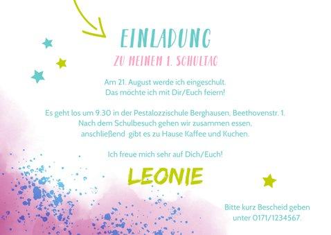 Einladung zur Einschulung Foto & rosablaue Kleckse 3