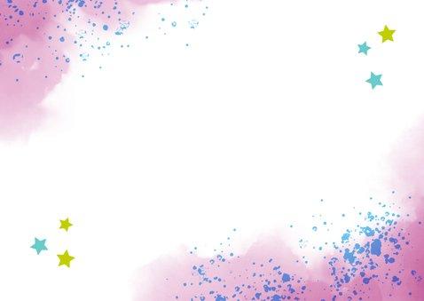 Einladung zur Einschulung Foto & rosablaue Kleckse Rückseite