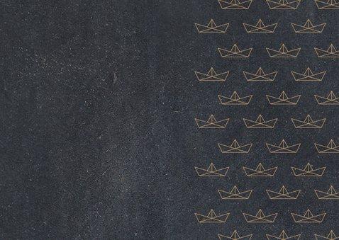 Einladung zur Einschulung Papierboote beige Kreidetafel Rückseite