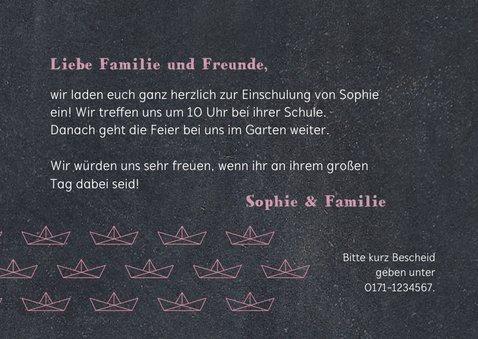 Einladung zur Einschulung Papierboote rosa Kreidetafel 3