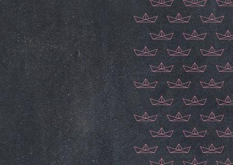 Einladung zur Einschulung Papierboote rosa Kreidetafel Rückseite