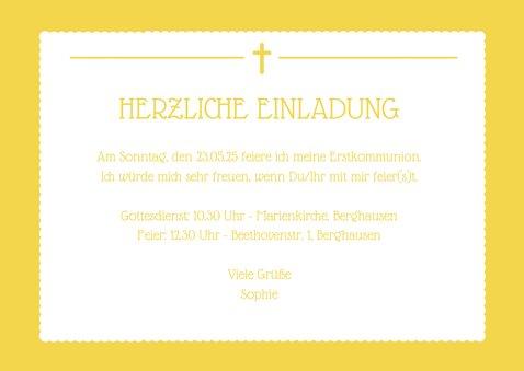 Einladung zur Erstkommunion gelb großes Foto 3