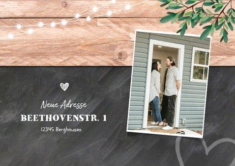 Einladung zur Housewarming Holz und Kreide mit 4 Fotos 2