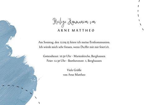 Einladung zur Kommunion blaue Farbkleckse 3