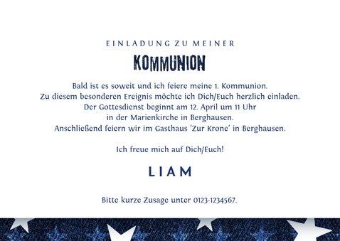 Einladung zur Kommunion Denim & Sterne Foto innen 3
