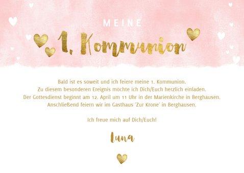 Einladung zur Kommunion Fotos, Herzen und Goldakzente 3