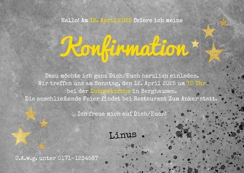 Einladung zur Konfirmation Betonlook, Foto und Sterne 3