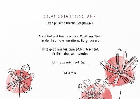 Einladung zur Konfirmation Blüten und Aquarell 3