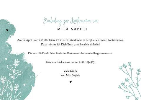 Einladung zur Konfirmation Farbkleckse, Foto und Blumen 3