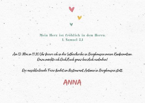 Einladung zur Konfirmation Foto Wegweiser und Herzen 2
