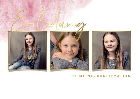 Einladung zur Konfirmation Fotos, Goldlook & Wasserfarbe 2
