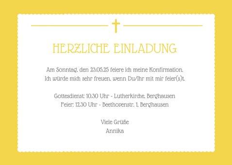 Einladung zur Konfirmation gelb großes Foto 3