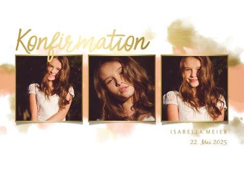 Einladung zur Konfirmationsfeier Fotocollage Goldlook 2