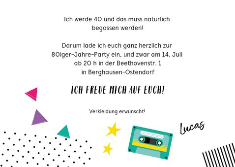 Einladung zur Mottoparty Eighties 1980 3