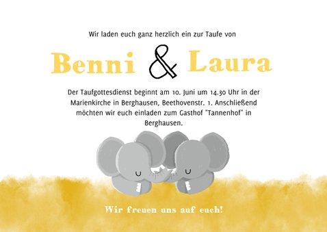 Einladung zur Taufe Zwillinge mit niedlichen Elefanten 3