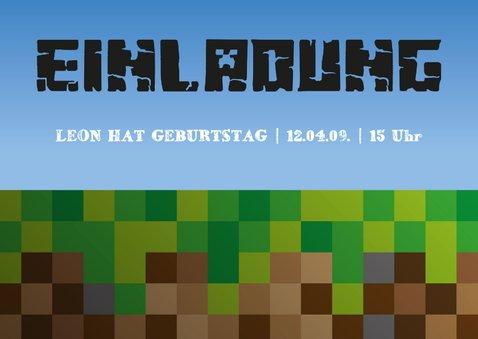 Einladungksarte zum Minecraft-Kindergeburtstag 2