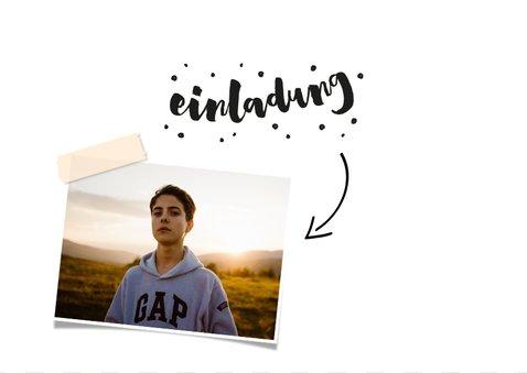 Einladungskarte 16. Geburtstag mit Foto und Rahmen 2