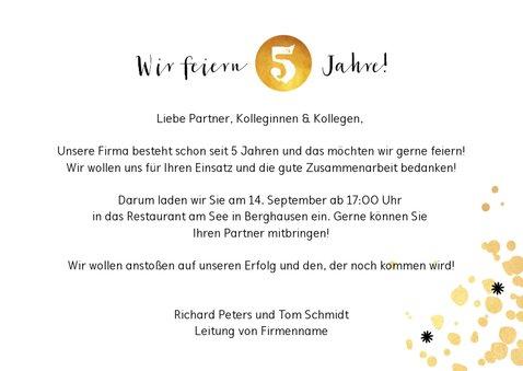 Einladungskarte Dienstjubiläum gold mit Foto 3