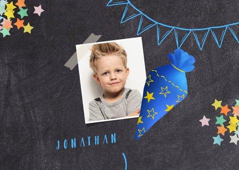 Einladungskarte Einschulung blaue Schultüte und Foto 2