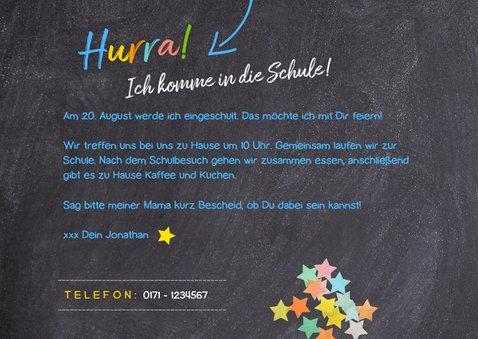 Einladungskarte Einschulung blaue Schultüte und Foto 3