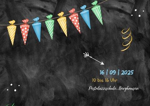 Einladungskarte Einschulung Foto und Schultütengirlande 2