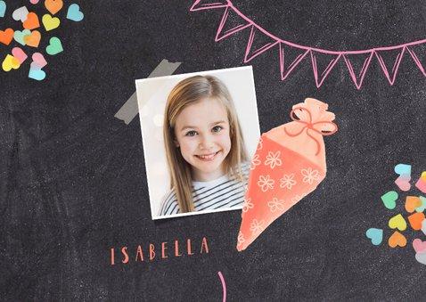 Einladungskarte Einschulung rosa Schultüte und Foto 2