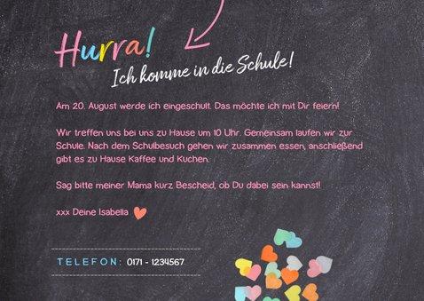 Einladungskarte Einschulung rosa Schultüte und Foto 3
