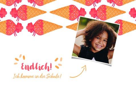 Einladungskarte Einschulung Schultüte Eis pink und Foto 2