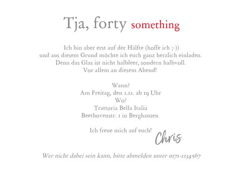 Einladungskarte 'forty something' humorvoll 3