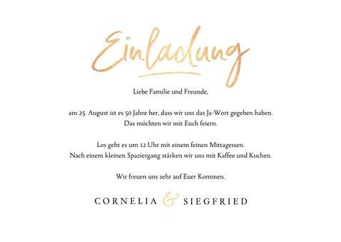 Einladungskarte goldene Hochzeit rosa Rosen 3