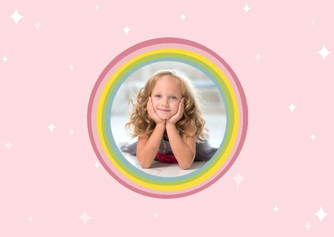 Einladungskarte Kindergeburtstag Einhorn und Regenbogen 2