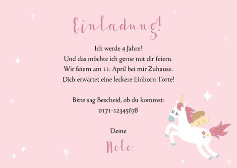 Einladungskarte Kindergeburtstag Einhorn und Regenbogen 3