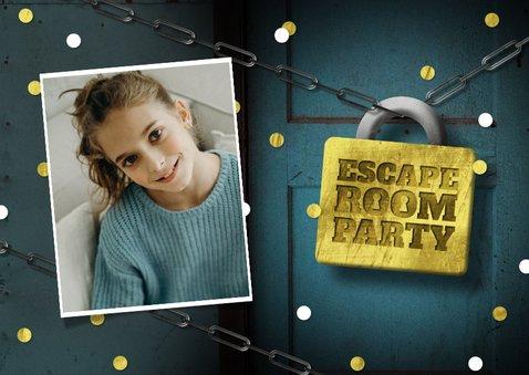 Einladungskarte Kindergeburtstag Escape Room Foto 2