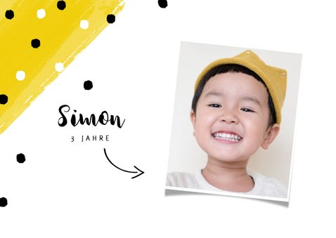 Einladungskarte Kindergeburtstag Konfetti und Foto 2