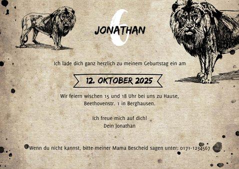 Einladungskarte Kindergeburtstag Löwe & Fotos 3