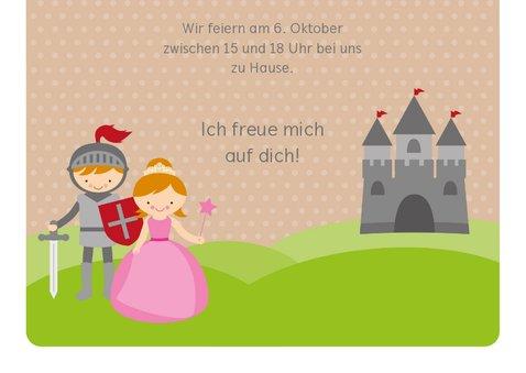 Einladungskarte Kindergeburtstag Ritter und Prinzessin 3