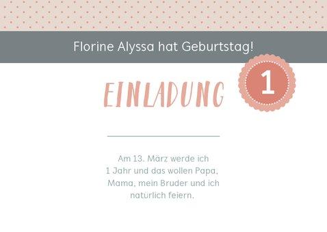 Einladungskarte Kindergeburtstag sanftes Rosé mit Foto 2