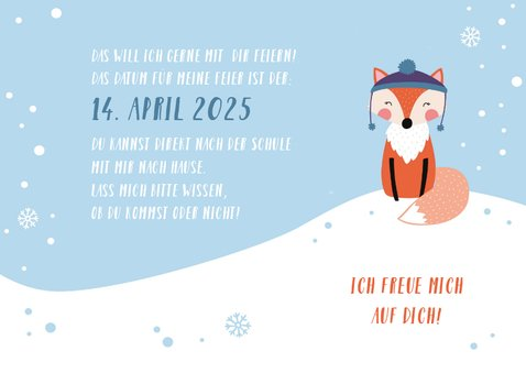 Einladungskarte Kindergeburtstag Schneefuchs 3