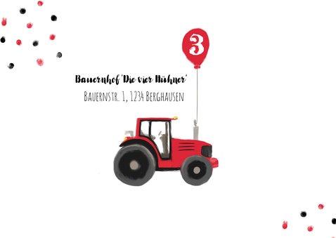 Einladungskarte Kindergeburtstag Traktor mit Luftballon 2