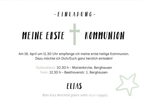 Einladungskarte Kommunion Foto und Graffiti 3