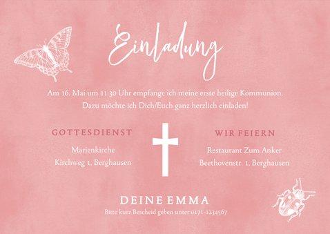 Einladungskarte Kommunion Foto und Schmetterlinge 3