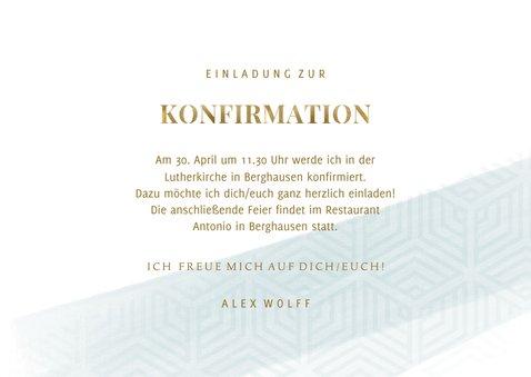 Einladungskarte Konfirmation grafischer Look Foto innen 3