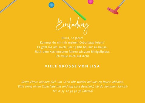 Einladungskarte Minigolf mit Foto, Schläger & Ball 3