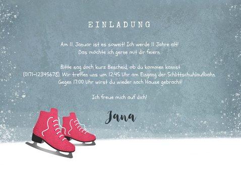 Einladungskarte rosa Schlittschuhe, Foto und Wegweiser 3