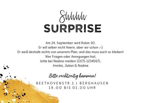 Einladungskarte Suprise-Party Shhhhh 3