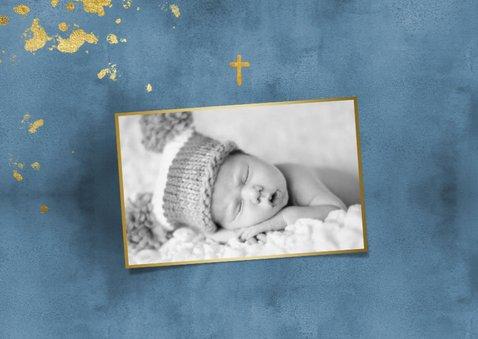 Einladungskarte Taufe Aquarell blau & Goldlook Foto innen 2