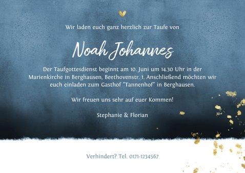 Einladungskarte Taufe Aquarell blau & Goldlook Foto innen 3