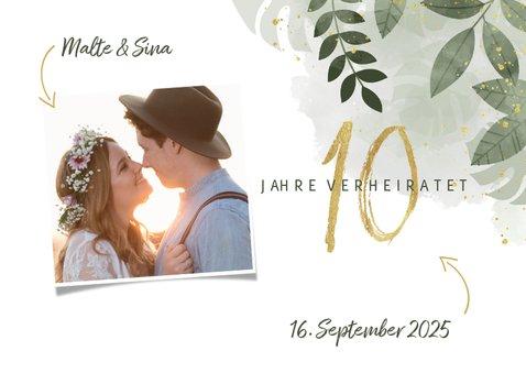 Einladungskarte zum 10. Hochzeitstag mit Foto 2